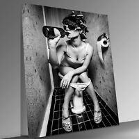 Girl Drinking Beer Toilet Canvas Wall Art Picture Print