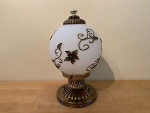 Vintage Electric Light Fixture w/ Ornate Regency Gold Gilt Round Glass Globe
