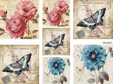 VinTaGe ImaGe PaRiS FloRaL & BuTterFly PosTcarDs ShaBby WaTerSliDe DeCals
