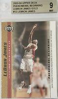 2003-04 LeBron James UD PHENOMENAL BEGINNING GOLD ROOKIE RC #12 BGS 9 -2 9.5 PSA