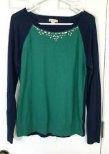 Merona Embellished Sweater Large Blue Green Long Sleeve Beaded Jewel Pullover