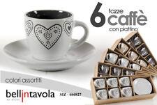 SET 12 PZ TAZZINE CAFFè PORCELLANA 6 TAZZE 6 PIATTI CUORI LOVE SIZ 666827