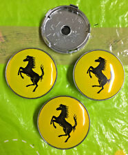 Ferrari Wheel Centre Cap 60mm Yellow / Black Set Of 4 Hub Caps Emblem Badge Logo
