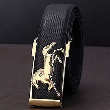 Gold Horse Leisure Fashion Leather Strap Business Men's Belt Metal Buckles Belts