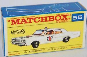 Matchbox Lesney No 55 Mercury Police Car Empty Box style F