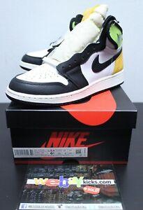 Air Jordan Retro 1 White Black Volt Green Sneakers Men's GS Size 6.5Y 575441-118