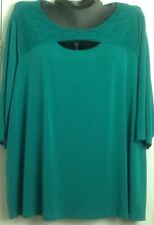 0X -5X Catherines Women Polyester T-Shirt Top GREEN CROCHET TOP 3/4 SLEEVE