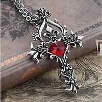 Vintage Vampire Diaries Memorial Red Sacred Heart Crystal cross necklace pendant