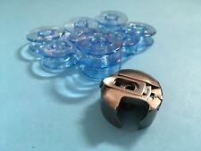 Spulenkapsel + 10 Spulen für Pfaff und Gritzner Nähmaschinen mit Umlaufgreifer