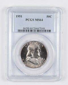 1951 MS64 Franklin Half Dollar - 90% SILVER - - PCGS Graded *990