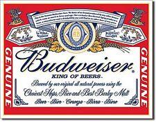 Budweiser Label (modern) large metal sign 410mm x 320mm (sf)