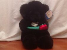 """Kellytoy Playpets to Cuddle & Love 14"""" Valentine Black Bear w/ Red Rose & Tags"""