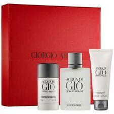 Acqua Di Gio Pour Uomo 3.4oz edt Spray After Shave Balm and Deodorant Gift Set