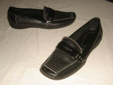 Made in Italy AMALFI Perforated Black Leather Casual Loafers Slip On Shoes 6.5 M