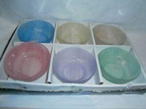 SET 6 BOXED VINTAGE RETRO 1970's HARLEQUIN ISABELLA GLASS SWEET BOWLS / DISHES