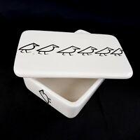 Vintage Raymor Italy Mid Century Art Pottery Covered Box Black White Birds MCM