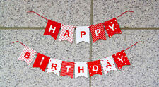 Happy Birthday Party Paper Red White String Banner Hanging Bunting Flag