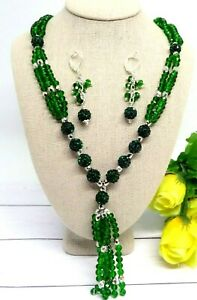 "HANDCRAFTED LONG 32"" GREEN CRYSTAL BEADED TASSEL NECKLACE AND EARRING"