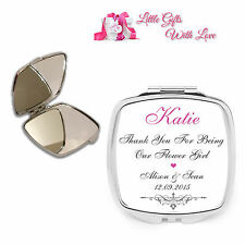 Personalised Flower Girl Compact Mirror Wedding Favour Thank You Keepsake Gift..