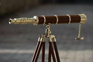 Nautical Marine Spyglass Brass Desktop 27 inch Telescope On Wooden Tripod Stand