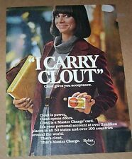 1977 vintage ad - Master Charge credit card -Lady has Clout PRINT Advertising