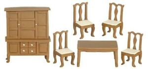 Dolls House Walnut Dining Room Furniture Set 1:24 Half Inch Miniature Suite
