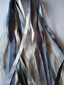 Grey/Silver Ribbon Bundle - 15 x Generous Metres  Assorted Widths & Types - NEW