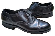 VINTAGE HANOVER COMFORT PLUS EYELET PUNCHED CAP TOE BLACK LEATHER OXFORDS 8 EEE