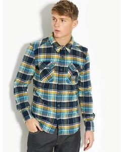 Superdry Mens Milled Flannel Checked Winter Shirt Top Jumper Blue Navy,S,M,L New