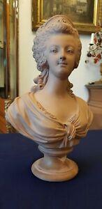 Ancien Buste terre cuite de Marie-Antoinette époque XIXème siècle.