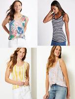 M&S Marks Spencer Women Scoop Neck Striped Floral Print Vest Tank Top T shirt