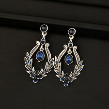 2017 Vintage Blue Crystal Dangle Earrings For Women Antique Silver Plated Es611