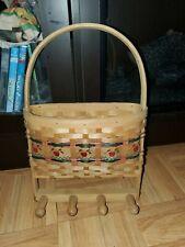 Vintage Kitchen Wall Hanging Letter Basket Key Holder Wood Woven Apples