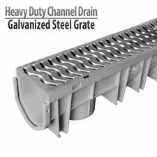 Source 1 Drainage Trench & Driveway Channel Drain with Galvanized Steel Grate