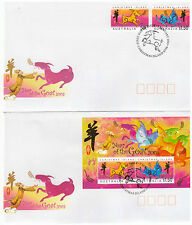 Australia Christmas Island 2003 Year Of Goat Set 14 & Minisheet First Day Covers