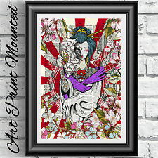 Japanese Kimono Geisha tattoo art print mounted on antique dictionary book page