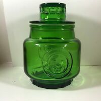 Vintage Wheaton New Jersey Green Glass Sunflower Canister With Lid A