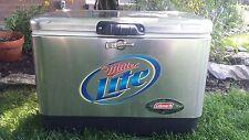 COLEMAN Miller Lite Stainless Steel Beer Cooler 22x14x16 Party Advertising