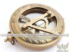 Brass Pocket Sundial Compass w/ Lid ~ Antique Finish ~ Nautical Maritime