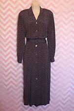 Vtg Land's End Button-Up Shirtwaist Day Dress Size 12 Vintage Mint 100% Silk