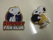 2 SNOOPY Peanuts Lapel Pins Sport Bowling & Fan Club - Vtg Original 50's, 60's
