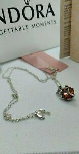 PANDORA Sparkling Lioness Heart SILVER Pendant Necklace
