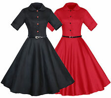 AU Women Retro Vintage 50s Rockabilly Collared Casual Party Swing Skaters Dress