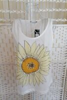 NEW LOOK Womens Top Size 14 White Sunflower Print Sleeveless Cropped Cami Vest