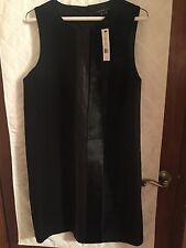 THEORY Elso Black Dress Sheath Glossy Calf Leather Combo Size 8 New