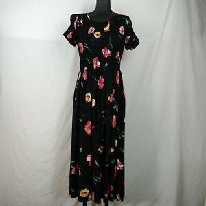 Petite Impressions Black Full Length Pink Floral Short Sleeve Dress Size M