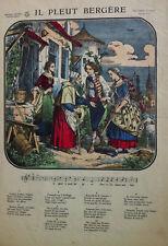 Imagerie Réunies Jarville Nancy Il Pleut Bergère CHANSON Musique Gravure XIXème