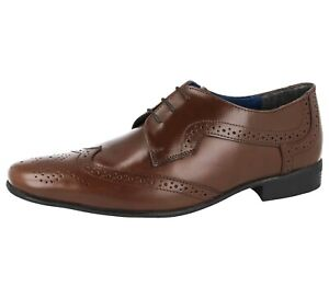 Mens Dr Keller Leather Lace Up Oxford Brogue Smart Loafers Shoes