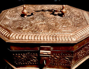 Antique Decorative Indian Copper Storage Chest. Hand Formed. One Of A Kind!