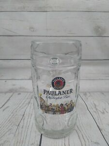 Paulaner Munchen Beer Mug 1 Liter Dimpled German Oktoberfest Bier Stein Glass